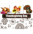 thanksgiving day banner turkey and vector image
