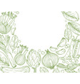 vegetables hand-drawn background with nature vector image