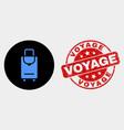 voyage luggage icon and distress voyage vector image vector image
