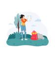 woman traveler exploring map outside female hiker vector image vector image