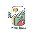 wood house logo design ecologic home sign vector image vector image