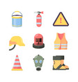 work protection tools set industrial safety items vector image vector image