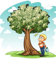 A money tree and a young boy vector image vector image