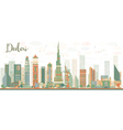 Abstract Dubai City skyline with color skyscrapers vector image vector image