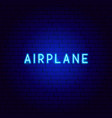 airplane neon text vector image