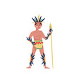 american indian man character in ethnic costume vector image