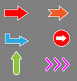arrow set arrow arrow icon on gray background vector image