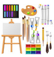 artist tools watercolor with paintbrushes vector image vector image