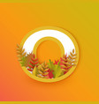 autumn zero 0 number with forest leaves vector image vector image