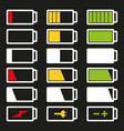 battery flat icon set isolated vector image vector image