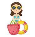 beautiful woman with swimsuit and float vector image