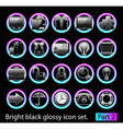 black glossy icon set 2 vector image