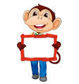 blank sign template with cute monkey on white vector image vector image