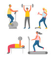 bodybuilders in gym using fitness equipments vector image