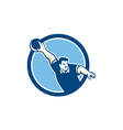 bowler pose bowling ball pins retro vector image