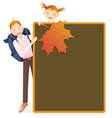 Boy girl and school board vector image vector image