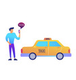 businessman calls a taxi using mobile app concept vector image