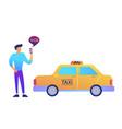 businessman calls a taxi using mobile app concept vector image vector image