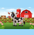 cartoon cow in the farm vector image vector image
