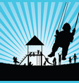 children silhouette playing in nature color vector image vector image