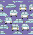 childrens seamless pattern with cars on a purple vector image