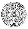 Circle summer doodle floral mandala vector image vector image