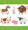 cute farm animals cartoon set vector image vector image