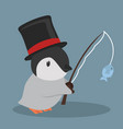 cute penguin fishing vector image vector image