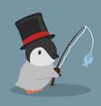 cute penguin fishing vector image