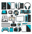 electronics computers and smart devices icons vector image