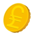 Gold coin with Italian Lira sign icon vector image vector image
