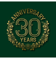 Golden emblem of thirtieth years anniversary vector image