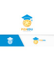 graduate hat and pizza logo combination vector image vector image