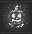halloween chalk drawing pumpkin jack lantern vector image vector image