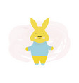 happy cute rabbit in blue sweater - cartoon vector image