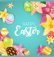 happy easter cute background with eggs vector image vector image