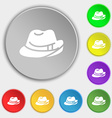 hat icon sign Symbol on eight flat buttons vector image