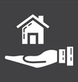 home in hand glyph icon business and finance buy vector image vector image