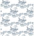 japanese sea ship seamless pattern sketch ink vector image