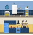 Kitchen interior and bathroom indoor view vector image