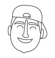man face with hat black and white vector image vector image