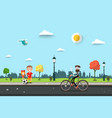 man on bicycle with children on sidewalk flat vector image vector image