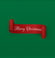 merry christmas red curved ribbon vector image vector image