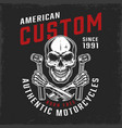 motorcycle repair service vintage label vector image vector image