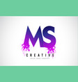 ms m s purple letter logo design with liquid vector image vector image