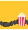 Popcorn Film strip border Red yellow box Cinema vector image vector image