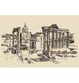 Roman Forum Ruins in Rome Landmark Italy vector image