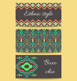 set of ethnic templates in the aztec geometric vector image
