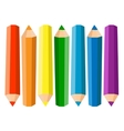 Set Of Seven Colored Pencils On White Background vector image
