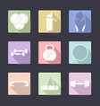 sport icon set fitness equipment vector image vector image